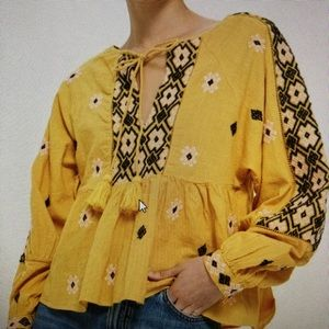 TopShop Yellow Embroidered Smock Blouse